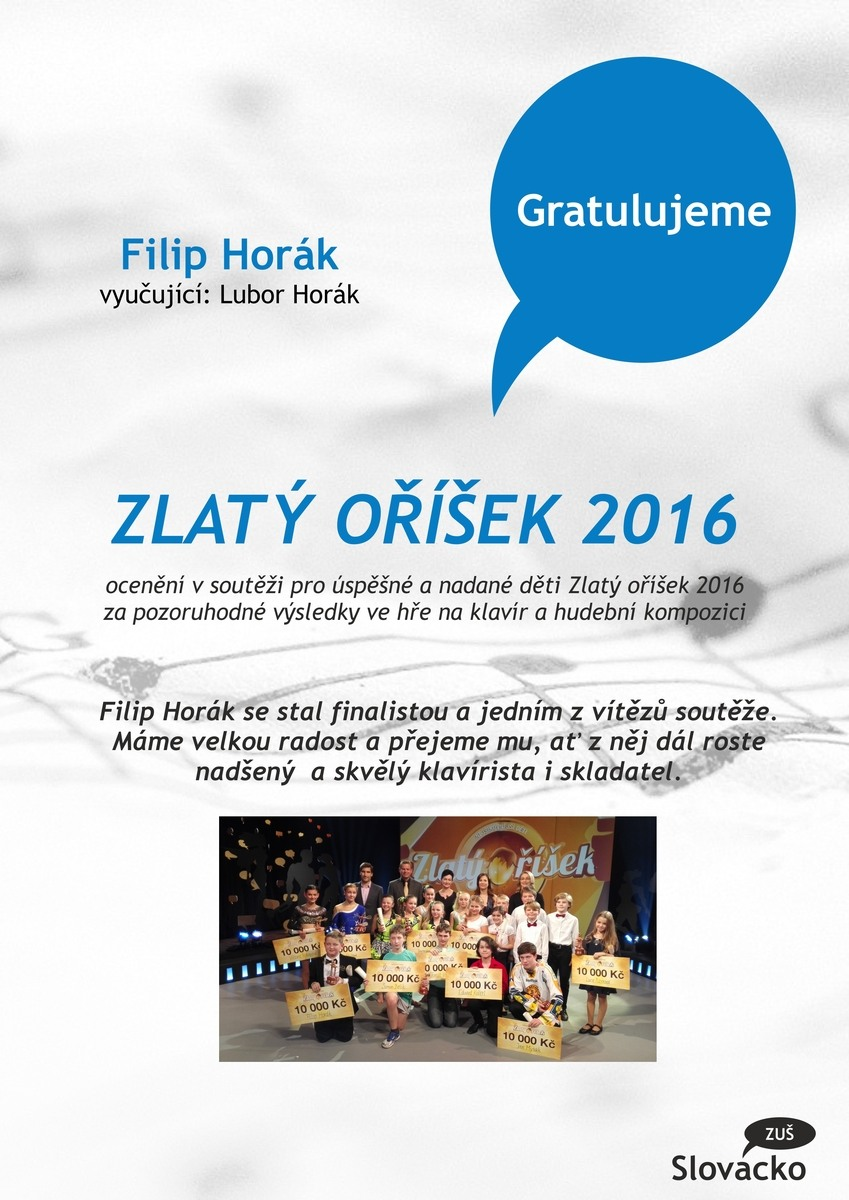 Úspěch Filipa Horáka v soutěži Zlatý oříšek 2016