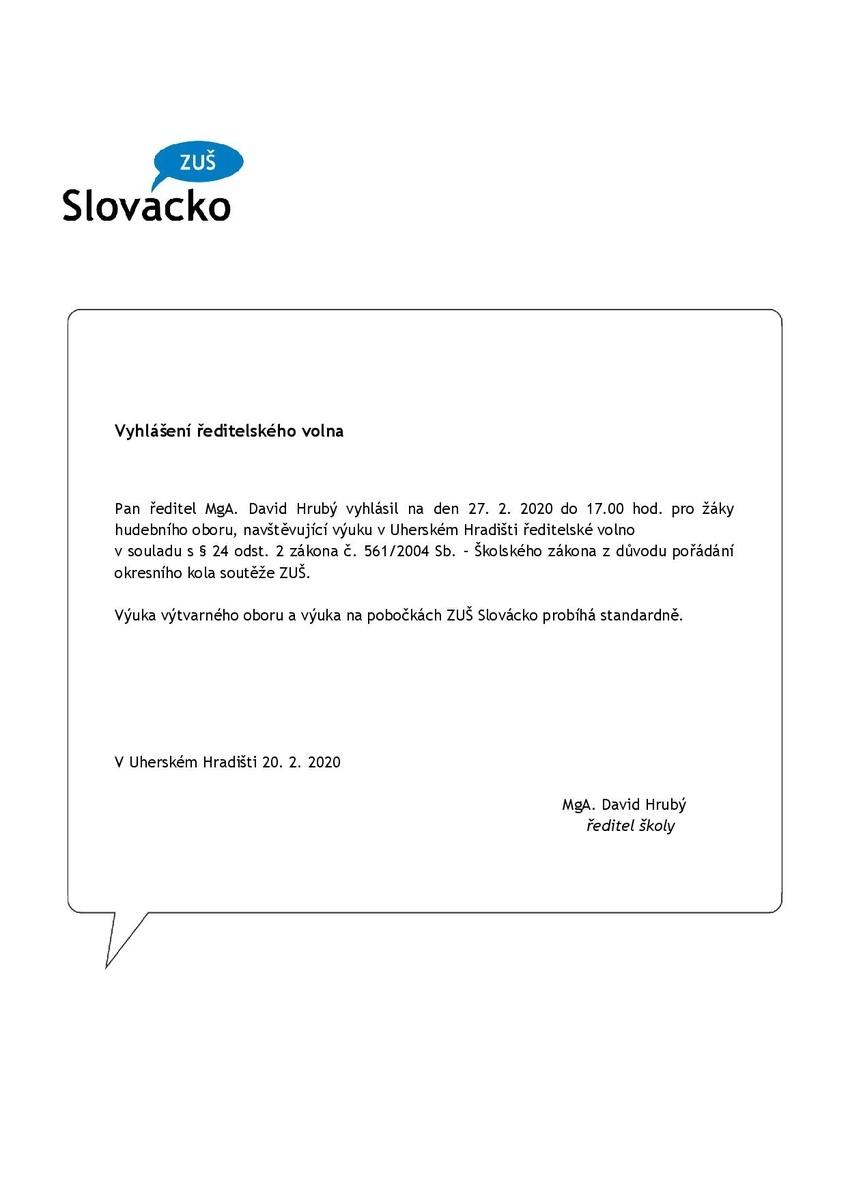 Ředitelské volno 27.2.2020