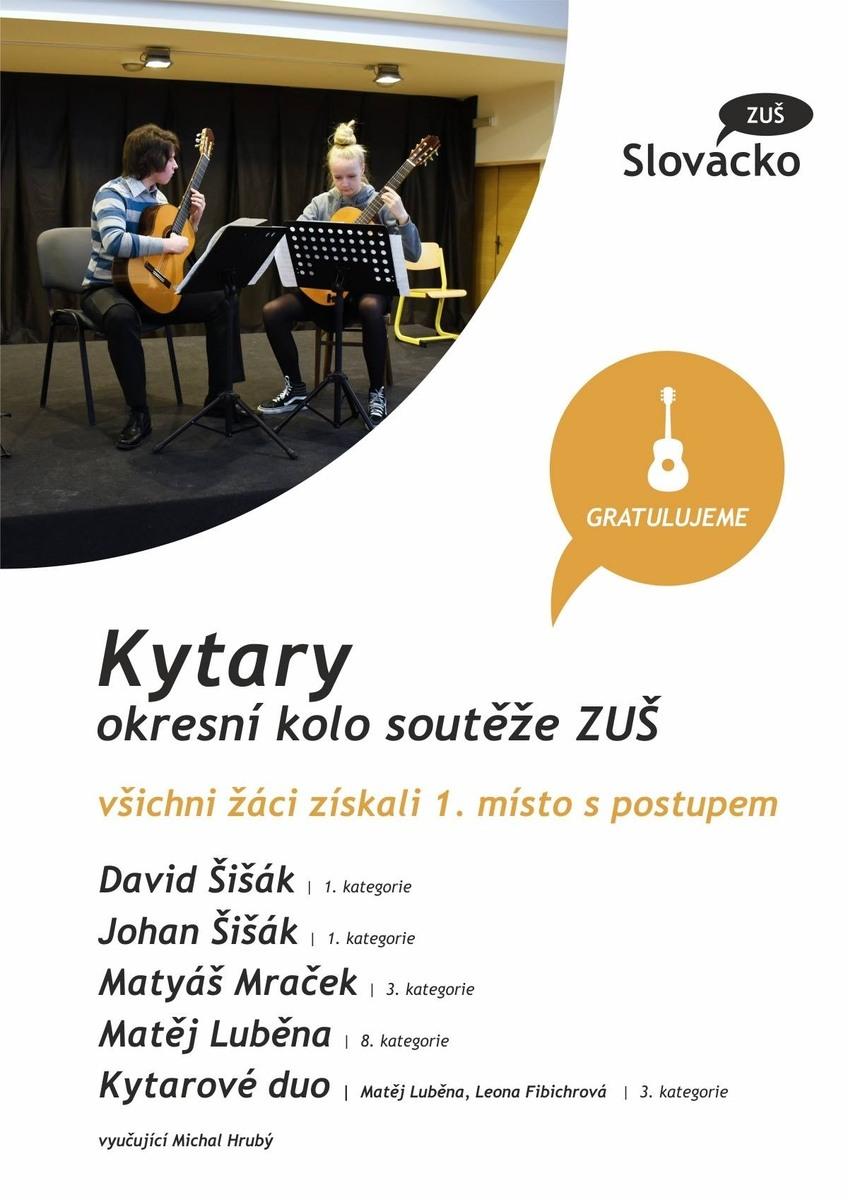Úspěch žáků na kytarové soutěži ve Zlíně